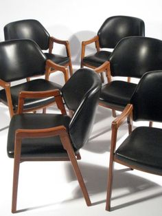 Ico Parisi; #814 Walnut and Leather Armchairs for Cassina, 1960.