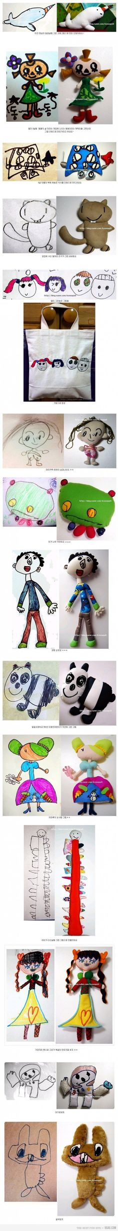Turn your kid's drawings into a stuffed toy! So creative.
