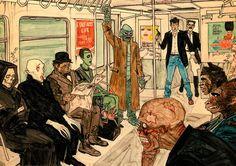 Interesting Subway crowd.