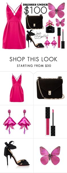 """""""Dresses Under $100"""" by anna-gabedava ❤ liked on Polyvore featuring Topshop, Valentino, Oscar de la Renta, Gucci, Christian Louboutin, Marc Jacobs and under100"""