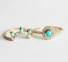 Dreamcatcher turquoise and diamond ring set. ORIGINAL DESIGN from Minimalvs! Custom gemstones are available per request - please contact me before purchase. This set also looks beautiful with moonstones, opals... IF YOU WANT A CUSTOM ring please contact me before purchase. Product details