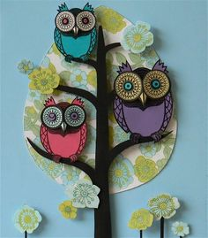 Owl themed paper collages from Helen Musselwhite Paper Owls, Paper Art, Paper Collages, Owl Crafts, Paper Crafts, Kirigami, Paper Book Covers, Owl Tree, Helen Musselwhite