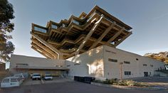 Geisel Library - 1968-70 by William L. Pereira & Associates - #architecture #googlestreetview #googlemaps #googlestreet #usa #sandiego #brutalism #modernism