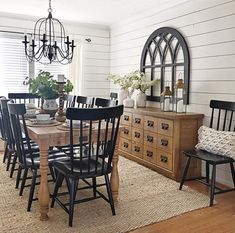 Gorgeous Farmhouse Dining Room Design Ideas Decoratrend Com - When Youre Choosing A More Minimal Dining Room Design Youre Going To Need To Decide On A Dining Room Table That Actually Stands Out After All Dining Rooms Are Generally The Only Room Th Dining Room Buffet, Country Dining Rooms, Dining Room Walls, Dining Room Design, Dining Area, Black Dining Room Chairs, Black Kitchen Chairs, Farmhouse Dining Room Lighting, Dining Decor
