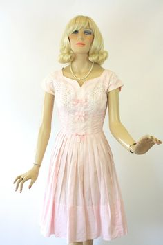 Vintage 50s Eyelet Dress Pink Cotton White by jantiques on Etsy
