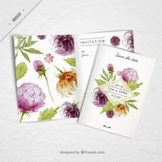 Watercolor flowery wedding card  Free Psd