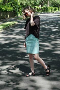 Primark Faux Leather Skirt, H&M T Shirt, Primark Sandals