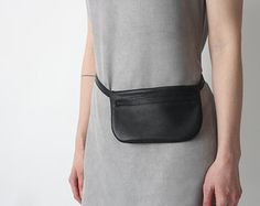 Handcrafted real leather with eco linen waist bag by TanDemCustoms