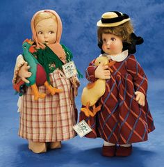 Pair,Italian Felt Character Girls by Lenci with Pet Rooster and Duck