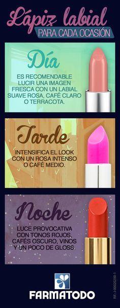 Elegir el color correcto de lápiz labial para cada ocasión no es una tarea complicada. Te explicamos cómo hacerlo #Belleza #Labial #Maquillaje