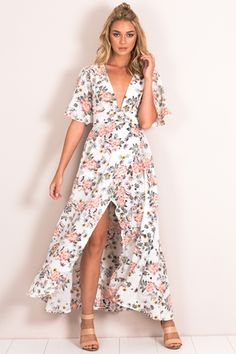 FOR A WHILE WRAP MAXI DRESS