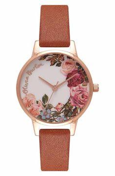 Olivia Burton English Garden Leather Strap Watch, 30mm