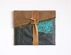 Lovely Hostess Gift! iPAD Case in Forrest Green Leather with Brown, Olive, Chartreuse and Turquoise Fish Skin Accents. #officegifts #corporategifts #hostessgift #Christmas #gifts