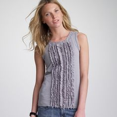 J. Crew Slub Cotton Ruffle Tank 100% Cotton. Loose Fit. Key hole with button closure on back. Front ruffles.   → If you have an offer please use the offer button! J. Crew Tops Tank Tops