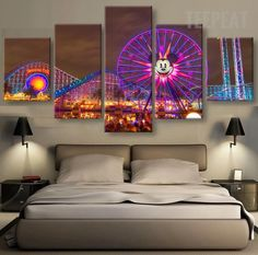 Disney At Night Time 5 Pc Canvas
