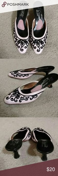 Vintage Baby pink kitten mules Super cute pink and black kitten heeled mules.  1960's. Beautifully made leather with black rhinestones and cording.  The heels are shiny black. Marked 6M. They seem to run a bit small. turian Shoes Mules & Clogs