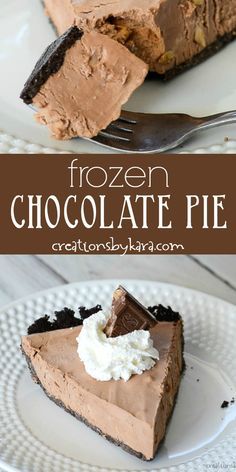 Personalized Graduation Gifts - Ideas To Pick Low Cost Graduation Offers Easy Frozen Chocolate Pie Recipe - Made With Melted Almond And Toffee Symphony Bars, This Chocolate Pie Is Rich And Creamy. The Filling Only Has 4 Ingredients Easy Chocolate Pie, Best Chocolate Desserts, Chocolate Pie Recipes, Frozen Chocolate, Chocolate Chip Cookie Dough, Great Desserts, Frozen Desserts, Delicious Desserts, Dessert Recipes