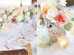 wedding centerpieces | Shabby Chic Barn Wedding