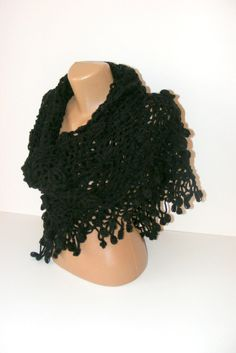 SALE hand crochetedblack shawlNew 2013 fashion crochet by seno, $75.00