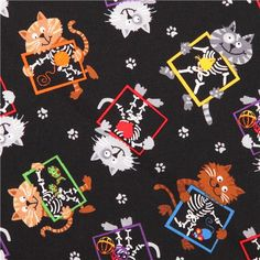 black X-ray cat fabric by Timeless Treasures