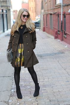 Our A-Line flared and fabulous Coventry Jacket in brown  (http://www.tands.com/products/coventry-jacket ) look chic on Lacey who stylishly layered it over an adorable dress and sweater.