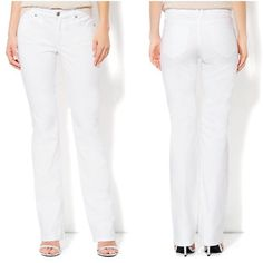"""NWT New York & Co Bootcut Jeans in Optic White New with tags! New York & Company Bootcut Jeans in Optic White. Always chic, these bootcut jeans feature a lower waist design and curvy fit to highlight your shape. A fresh, white shade instantly refreshes your look. Zip front with button closure, five pockets, double belt loop in back to prevent gaping, bootcut legs, petite length, sits lower at the waist, slimming through the hips & thighs, and inseam 30"""". Made from 99% Cotton, 1% Spandex. New…"""