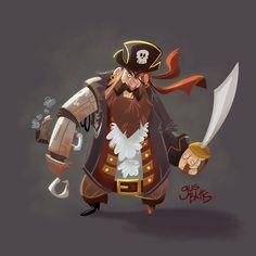 Cyborg Pirate Character design, Gus Batts on ArtStation at https://www.artstation.com/artwork/k289y