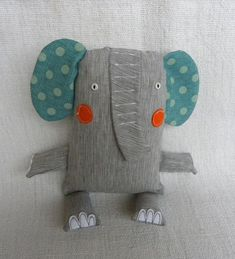 Fonzie the Elephant - Stofftiere Softies, Sewing Toys, Baby Sewing, Sewing Crafts, Fabric Toys, Fabric Crafts, Crafty Projects, Sewing Projects, Fabric Animals