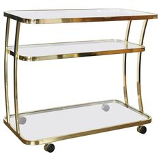 Dia Three-Tier Brass and Glass Bar, Drinks, Tea or Service Cart /Trolley | From a unique collection of antique and modern bar carts at https://www.1stdibs.com/furniture/tables/bar-carts/