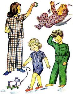Girls Boys Pajamas Tops Bottoms Simplicity 2040 Vintage Sewing Pattern