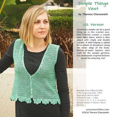 Simple Things Vest By Therese Chynoweth inAncient Arts Yarn 3-Ply Fingering/Sock 100% Superwash Merino Wool Sample shown in Mama's Retro Kitchen.
