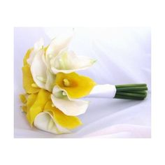 Natural Touch Bridal Bouquet Yellow White Calla Lilies - All Silk Bridal Bouquets ($60) found on Polyvore