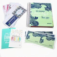 my mint and navy erin condren life planner and all the extras that came with it Mint And Navy, Lp Cover, Erin Condren Life Planner, Planner Ideas, Dear Friend, Planners, Fans, Teacher, Kawaii