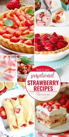 Celebrate the sweet taste of summer with these fresh and juicy SENSATIONAL STRAWBERRY RECIPES. From strawberry shortcake and strawberry pie to strawberry bruschetta and more! Mini Desserts, Strawberry Desserts, Strawberry Pie, Easy Desserts, Strawberry Shortcake, Delicious Desserts, Yummy Food, Strawberry Fields, Fruit Recipes
