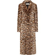 Saint Laurent Leopard-print goat hair coat (579.075 RUB) ❤ liked on Polyvore featuring outerwear, coats, jackets, saint laurent, leopard print coat, long coat, brown coat, leopard coat and long leopard coat