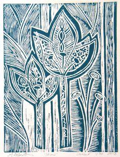 Stems linocut by Anna Robertson