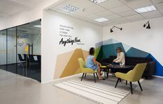All Aspect office in the center of Tel Aviv. The design incorporates the language of formulas and algorithms with the firm's branding colors and creates a new visual language | EN Design studio