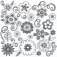 Flowers Sketchy Notebook Doodles Vector Design Elements — Imagen vectorial #9263830