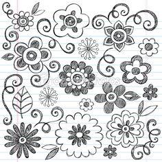 Flowers Sketchy Notebook Doodles Vector Design Elements — Imagen vectorial #9263830 Más