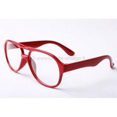 $11 Verres neutres , monture totalement rouge. Style #Aviator