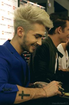 Bill Kaulitz tattoo Cross Blue
