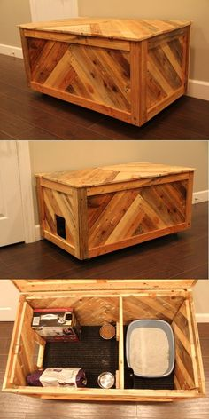All in one cat box or blanket chest made out of reclaimed pallet wood. All in one cat box or blanket chest made out of reclaimed pallet wood. The post All in one cat box or blanket chest made out of reclaimed pallet wood. appeared first on Wood Ideas. Cat Box Furniture, Rustic Cat Furniture, Furniture Plans, Kids Furniture, Furniture Design, Pallet Projects, Diy Projects, Wood Pallets, Pallet Wood