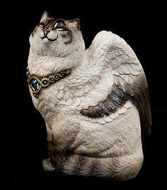 "Windstone ""Lynx Point Siamese"" Small Bird Winged Flap Cat Figurine"