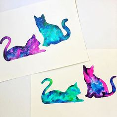 I'm calling these 'Cosmo Kitties' and 'Tie Dye Kitties' Did these for my sister and her boyfriend and their two cats! I'll post the video in a bit but it's a really similar process to my galaxies. Used Dr Ph Martin's watercolors and bleed proof white for the stars. . . . . #watercolor #watercolorpainting #cats #kitties #tiedye #cosmo #galaxies #painting #art #drphmartins Watercolor Cat, Watercolor Paintings, Painting Art, Bestie Tattoo, Mikey, Galaxy Cat, Tattoo Addiction, Cover Up Tattoos, Diy Canvas