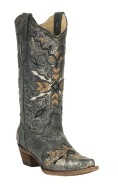 Corral Women's Metallic Black with Aztec Embroidery Snip Toe Western Boots | Cavender's
