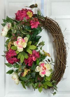 Summer Wreaths for Door Front Door by GaslightFloralDesign