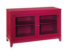 Shop for Hammary Red Entertainment Console-Kd, 090-397, and other Home Entertainment Entertainment Centers at Barrs Furniture in McMinnville, TN. Red Painted Finish, Poplar Solids, Two Glass Doors with One Adjustable Shelf Behind Each, Open Compartments Behind Doors: W40 D16.75 H22, Wire Managements Openings.
