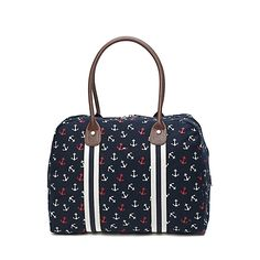"Tommy Hilfiger womens handbag. Anchors give a nautical nod to a notable tote with enough room for your daily everything. • Tote silhouette in cotton with leather-like trim. • Zip-top closure, interior zipper pockets, reinforced bottom. • 14"" (H) 17"" (L) 8"" (W) 11"" drop. • Imported."