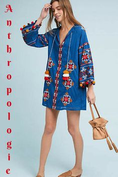 Anthropologie Palma Embroidered Tunic Dress. #anthropologie #anthropologieboho #boho #bohotunic #bohoembroidered #tunicdress *Aff*