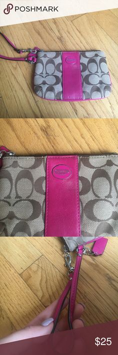 Coach Pink Wristlet / wallet Perfect condition coach wristlet and always can be used for wallet. Has two pocket slots on the inside perfect to hold your cards and cash! No damaged stain or wear to it! Never has been used! Make me an offer! Bright pInk and brown colors Coach Bags Clutches & Wristlets